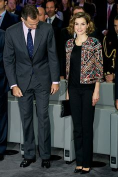 (L-R) King Felipe VI of Spain and Queen Letizia of Spain attend a meeting with ambassadors of the Spanish Brand at Auditorio Ciudad BBVA on November 12, 2015 in Madrid, Spain.