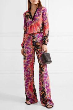 Etro - Paisley-print Silk Crepe De Chine Wide-leg Pants - Coral - IT40