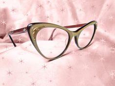 Vintage Cateye Glasses  1950s 2-Tone Lucite by LunaJunctionVintage