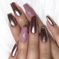 """8,429 Likes, 33 Comments - TheGlitterNail  Get inspired! (@theglitternail) on Instagram: """"✨ REPOST - - • - - Mauve, Rose-Gold and Glitter on long Square Nails ✨ - - • - -  Picture and…"""""""