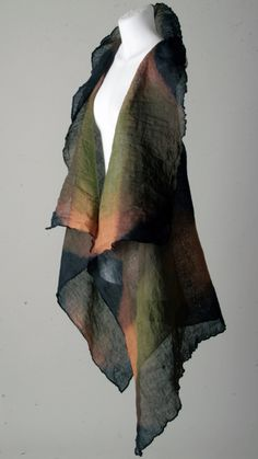 Chrzascz Vest, linen gauze, hand-dyed, Colours: black/sage and sepia totally love this for work at home