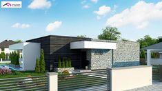Zx153 - Nowoczesny dom parterowy z 4 sypialniami oraz patio wewnątrz.