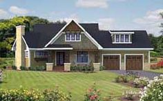 Interesting design. Bedrooms are all together! Not loving the great room though. Bungalow Style House Plans - 1857 Square Foot Home, 1 Story, 3 Bedroom and 2 3 Bath, 2 Garage Stalls by Monster House Plans - Plan 38-507