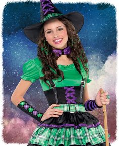 We love this funky wicked witch costume for teens! This witch fancy dress costume comes  sc 1 st  Pinterest & How cute is this Miss Matched Witch costume for kids? Perfect for ...