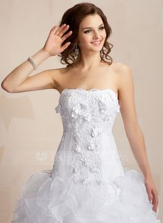 Ball-Gown Sweetheart Chapel Train Organza Satin Wedding Dress With Lace Beading Flower(s) Cascading Ruffles (002000106)