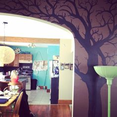 trees painted on walls | Tree mural my roomie painted on our wall :) | Projects