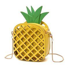2017 NEW female brand interesting design women fruit bags cute pineapple chain shoulder bag PU leather messenger bag clutch bag