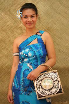 One-Shoulder Frangipani Puletasi - made-to-order at Langi's Island Styles.