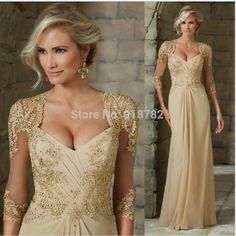 Mother Of The Bride Dresses Mother Of The Bride Dresses Tulle Lace Sequined 3/4 Long Sleeves Evening Dress Deep V Neck Appliques Groom Mother Formal Gowns Less Expensive Weddings & Events
