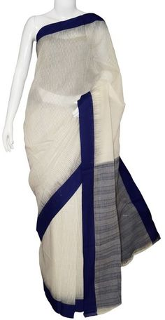 Off White & Blue Bengal Cotton Handloom Saree with Blouse