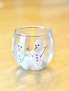 Fingerprint Snowman Candle Holder