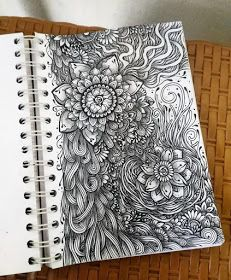 Intricate Drawings by Widya Rahayu Doodle Art Drawing, Girl Drawing Sketches, Zentangle Drawings, Doodles Zentangles, Mandala Drawing, Art Drawings Sketches Simple, Zentangle Patterns, Zen Doodle, Sharpie Doodles