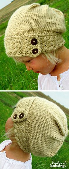 Little Ella's Slouch hat is a knit hat pattern for a knitted slouch hat. This kinit hat comes in sizes for baby, toddler to adult! This is a seamless knitting pattern and is knit in the round. An adorable knitted hat! Click through to get the pattern from KnotEnufKnitting!