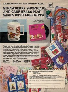 STRAWBERRY SHORTCAKE & CARE BEARS 1983 Christmas Gift Wrap 1 page ad/clipping