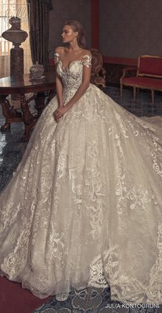 """Julia Kontogruni Couture 2019 """"Notto"""" Wedding Dress Collection offers regal-inspired, romantic gowns with an opulent flair and a feminine approach Extravagant Wedding Dresses, Western Wedding Dresses, Classic Wedding Dress, Gorgeous Wedding Dress, Princess Wedding Dresses, Dream Wedding Dresses, Beautiful Gowns, Bridal Dresses, Wedding Gowns"""