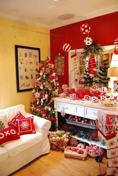 suziebeezie:    red shoes home goods  one year, i swear i shall fly out to ann arbor after thanksgiving to see catherine's store all decked out for christmas. it looks so wonderful. :)