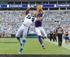 Vikings Panthers Football Kyle Rudolph, Shaq Thompson