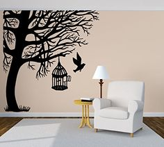 Wall Room Decor Art Vinyl Decal Sticker Mural Tree Birdcage Bird Large Big AS454