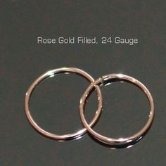 7mm Small Rose Gold Hoop Earrings, 24 Gauge Cartilage Earring, helix, tragus, nose ring,ear ring, small gold hoop earings, gold filled 24g