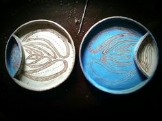 Ceramic plate.  What color do ornaments look better? #ceramics #ceramic_plate
