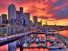Beautiful photo of Seattle, Washington during the sunset Seattle Waterfront, Waterfront Restaurant, Seattle Skyline, Boston Skyline, Best Places To Live, Places To Visit, Provence, Hawaii, Moving To Seattle