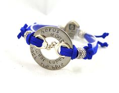 Heros Don't Wear Capes - Back The Blue // Adjustable Hand Stamped Washer Bracelet // Faux Suede // Support Police by AllAboutWashers on Etsy