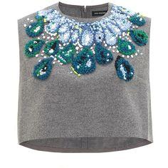 Vika Gazinskaya Grey Wool Necklace Top found on Polyvore