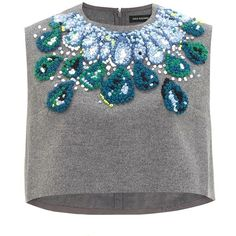 Vika Gazinskaya Grey Wool Necklace Top (24 940 UAH) ❤ liked on Polyvore featuring tops, shirts, crop tops, blusas, grey, grey shirt, crop top, sleeveless crop top, zipper crop top and grey crop top
