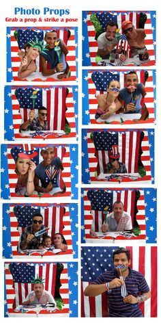 photo props collage of July, now this takes the idea of a flag for photo backdrop to whole new level. Photo Booth Backdrop, Photo Props, Photo Booths, 4th Of July Party, Fourth Of July, 4th Of July Photos, Party Central, 4th Of July Decorations, Strike A Pose