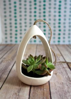 Hanging Planter made from Vintage Mold.  Ceramic Earthenware Planter for Succulents, Air Plants, and More!