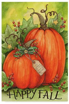 Trademark Global Melinda Hipsher 'Thankful Pumpkins' Canvas Art - 30 x 47 Fall Canvas Painting, Autumn Painting, Autumn Art, Tole Painting, Canvas Art, Canvas Crafts, Pumpkin Art, Pumpkin Drawing, Thanksgiving Art