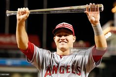 American League All-Star Mike Trout #27 of the Los Angeles Angels of Anaheim…