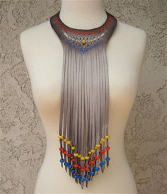 Beige Suede Choker Fringe Wood Bead work in Blue Orange Yellow beads with Woven…