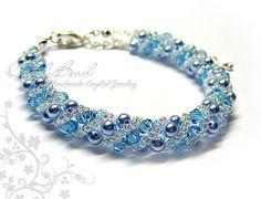 Aquamarine Sweety Twisty Swarovski Crystal Bracelet por candybead