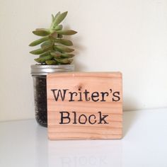 """The writer's block is handcrafted and hand-painted in our little wood shop. It measures 4"""" x 4"""". The writer's block makes a great gift for your favorite writer. A fun accent piece for anyone's desk at"""