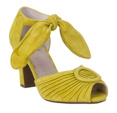 Give your feet the true pin-up treatment with the yellow suede Miss L Fire Loretta Heel! Hands Together, New Print, Lady And Gentlemen, Shoe Collection, Ankle Strap, Heeled Mules, Vintage Inspired, Preservation Hall, Pin Up