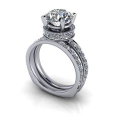 SUPERNOVA Colorless Moissanite and Diamond Engagement Ring and Wedding Band 4.35 CTW
