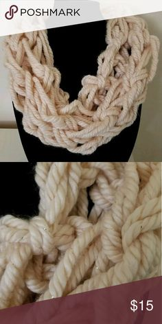 Handmade Infinity Bulky Chunky Cowl Handmade infinity cowl. Off white with gold color metallic strands. 79% acrylic 20% wool 1% metallic. Handmade Accessories Scarves & Wraps
