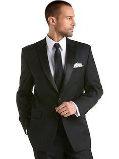Suits - Calvin Klein Black Peak Lapel Tuxedo - Men's Wearhouse