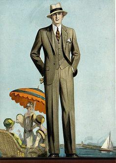 1928 men's fashion, straw hat.