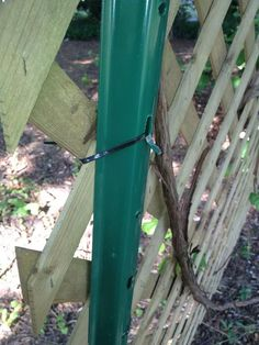 Pound your 1st post into the earth, eyeball or measure distance for next post. Then attach lattice to the posts with zip ties. I used 3 per post.