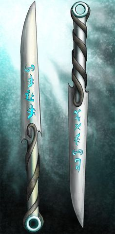 Kirandir and Nakanadi by Pointy-Eared-Fiend Fantasy Blade, Fantasy Weapons, Concept Weapons, My Doodle, The Hobbit, Swords, Creatures, Deviantart, Ideas