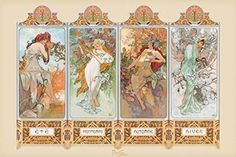Mucha 4 Seasons Wall Poster * You can find more details by visiting the image link.