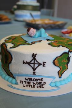 Welcome to the World Baby Shower for a Boy: Map Decor Details ...