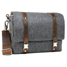 Medium DSLR camera bag with padded insert - gray herringbone wool