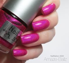 NailNation 3000 Amaze-Ballz: probably the hottest pink holo out there ♥