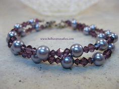 www.belhavenstudios.com Amethyst Swarovski crystals and pearls sterling silver bracelet