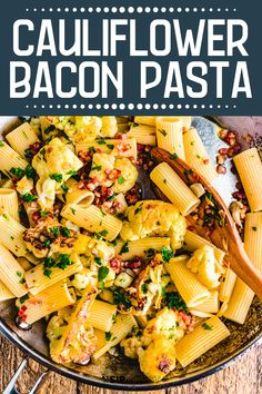 Rigatoni with Bacon and Cauliflower is so good!  The pan-roasted cauliflower absorbs all the wonderful bacon flavor.  Mixed with your pasta of choice and topped with grated cheese this hearty recipe will surely become a family favorite! #cauliflower #rigatoni #pancetta #italian #comfortfood Yummy Pasta Recipes, Risotto Recipes, Easy Dinner Recipes, Noodle Recipes, Easy Dinners, Weeknight Recipes, Simple Recipes, Sweets Recipes, Rice Recipes