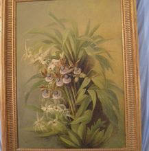 Victorian Still Life Oil Painting Wild Orchid Flower on Ruby Lane