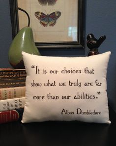 Harry Potter-Dumbledore Choices Quote- 10X12 Inch Natural Cotton Fabric Pillow on Etsy, $18.00
